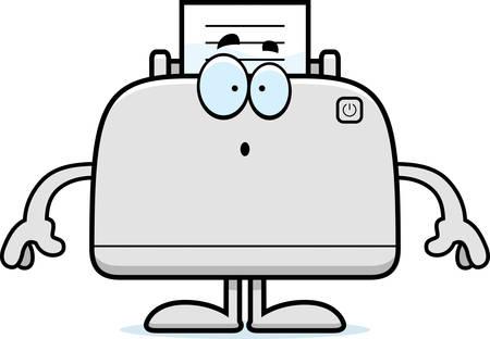 A cartoon illustration of a printer looking surprised. Ilustracja