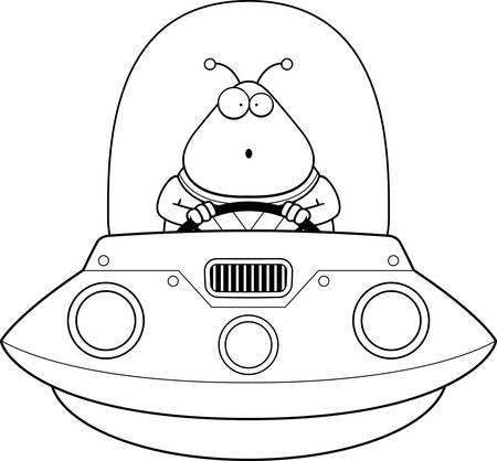 spacesuit: A cartoon illustration of an alien in a UFO looking surprised. Illustration