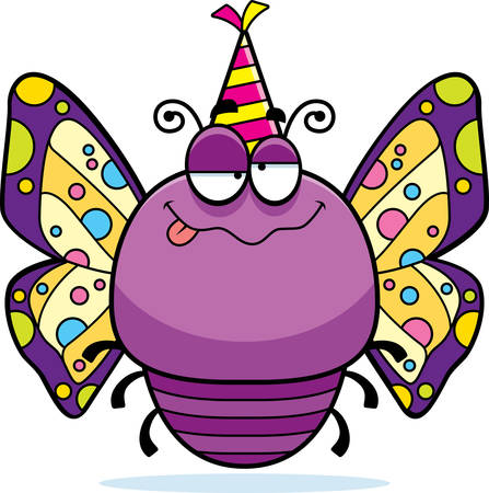 drunk party: A cartoon illustration of a butterfly with a party hat looking drunk. Illustration
