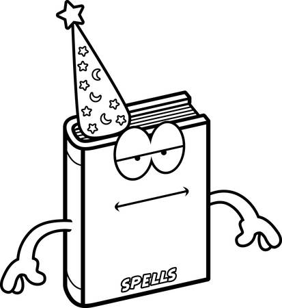 A cartoon illustration of a spell book looking bored.
