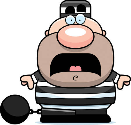 ball chains: A cartoon illustration of a prisoner looking scared. Illustration