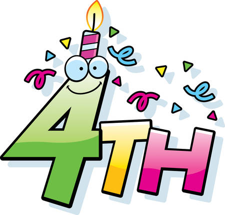 fourth birthday: A cartoon illustration of the text 4th with a birthday candle and confetti.
