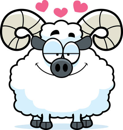 infatuated: A cartoon illustration of a ram in love.