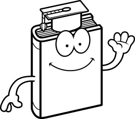 textbook: A cartoon illustration of a textbook waving.