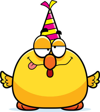 A cartoon illustration of a chicken with a party hat looking drunk. Illustration