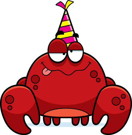 intoxicated: A cartoon illustration of a crab with a party hat looking drunk.
