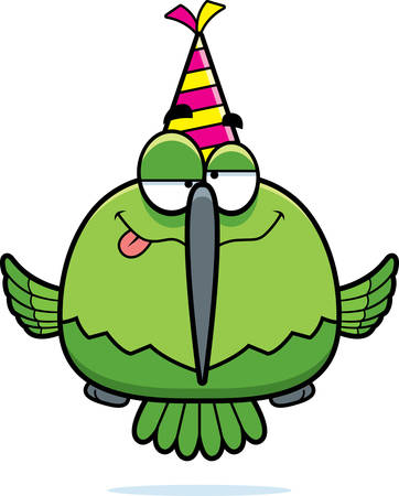 drunk party: A cartoon illustration of a hummingbird with a party hat looking drunk. Illustration