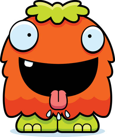 hungry: A cartoon illustration of a fluffy monster looking hungry.