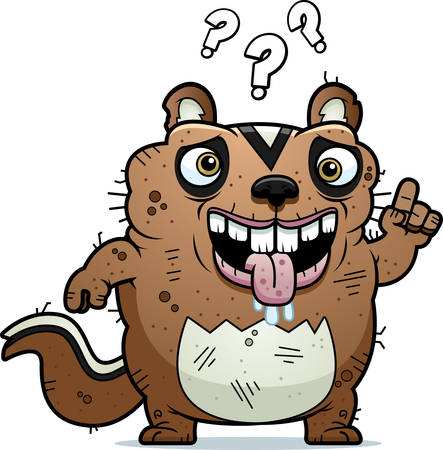drooling: A cartoon illustration of an ugly chipmunk looking confused.