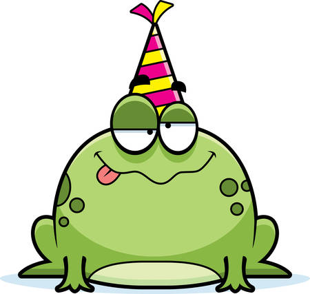 A cartoon illustration of a frog with a party hat looking drunk. Illustration