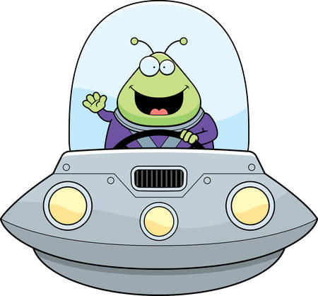 spacesuit: A cartoon illustration of an alien in a UFO waving. Illustration