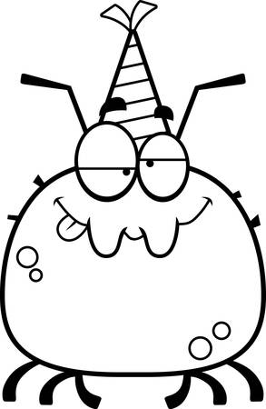cartoon bug: A cartoon illustration of a tick with a party hat looking drunk. Illustration