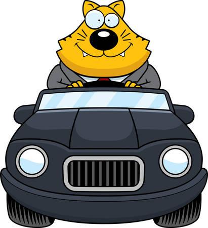 driving a car: Un ejemplo del dibujo animado de un gato gordo conducir un coche y sonriente.