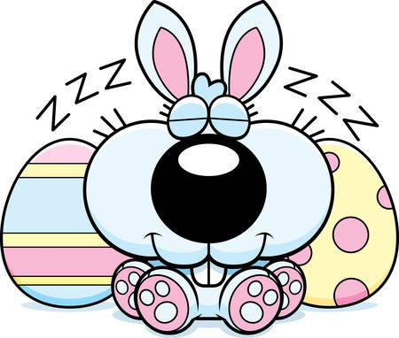 A cartoon illustration of the Easter Bunny taking a nap.