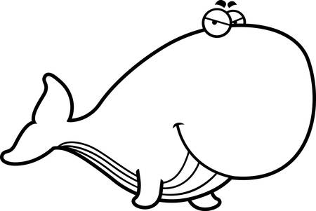 tail fin: A cartoon illustration of a whale with a sly expression.