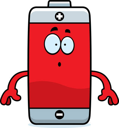 A cartoon illustration of a battery looking surprised. Stok Fotoğraf - 44859517