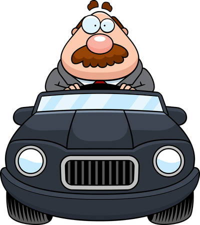 driving a car: A cartoon illustration of a businessman with a mustache driving a car. Vectores