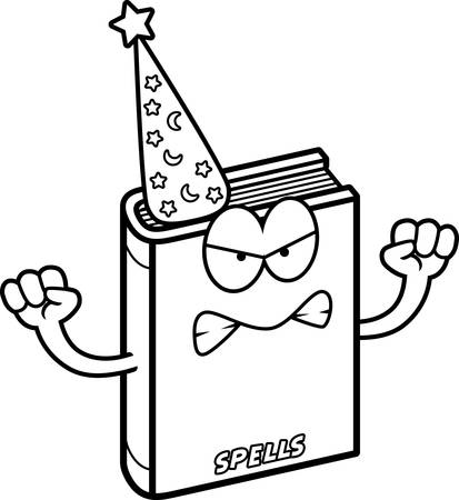 A cartoon illustration of a spell book looking angry.