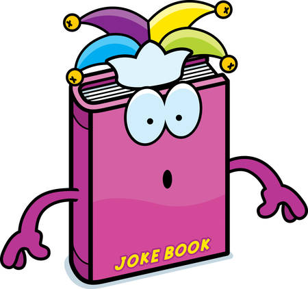 A cartoon illustration of a joke book looking surprised.