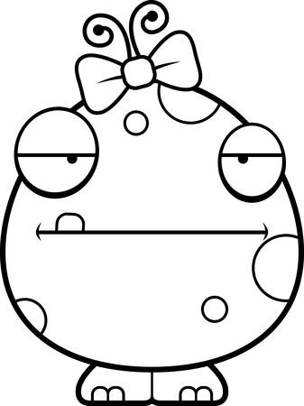 antennae: A cartoon illustration of a baby girl monster looking bored.