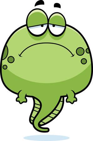 tadpole: A cartoon illustration of a tadpole looking sad.