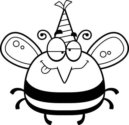 bee party: A cartoon illustration of a bee with a party hat looking drunk.
