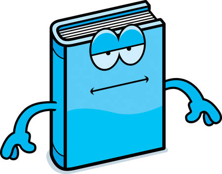 bored: A cartoon illustration of a book looking bored. Illustration