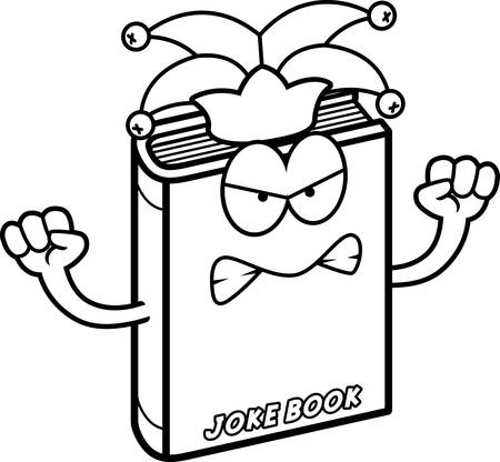 A cartoon illustration of a joke book looking angry.