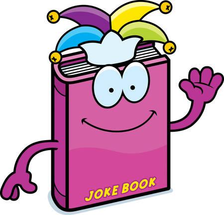 A cartoon illustration of a joke book waving.