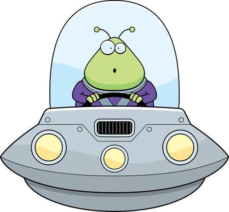 cartoon space: A cartoon illustration of an alien in a UFO looking surprised. Illustration