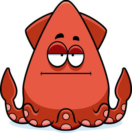 bored: A cartoon illustration of a squid looking bored. Illustration