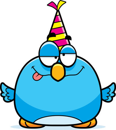 bluebird: A cartoon illustration of a bluebird with a party hat looking drunk.