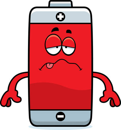 nauseous: A cartoon illustration of a battery looking sick.