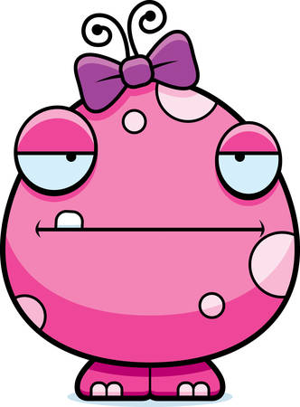 A cartoon illustration of a baby girl monster looking bored.
