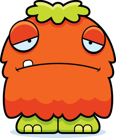 frowning: A cartoon illustration of a fluffy monster looking sad.