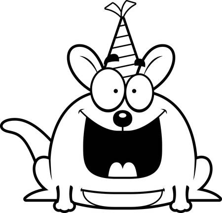 joey: A cartoon illustration of a little kangaroo with a party hat looking happy.