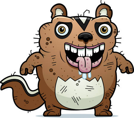 beastly: A cartoon illustration of an ugly chipmunk standing.