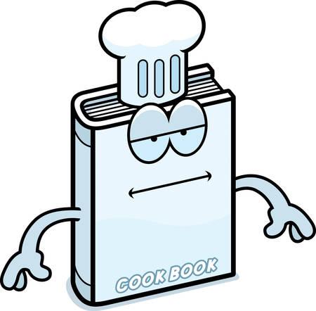 A cartoon illustration of a cookbook looking bored. Ilustracja
