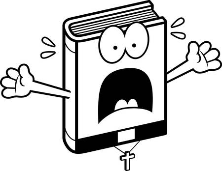 minister: A cartoon illustration of a bible looking scared. Illustration