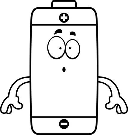 A cartoon illustration of a battery looking surprised.