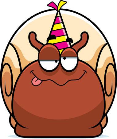 intoxicated: A cartoon illustration of a snail with a party hat looking drunk. Illustration