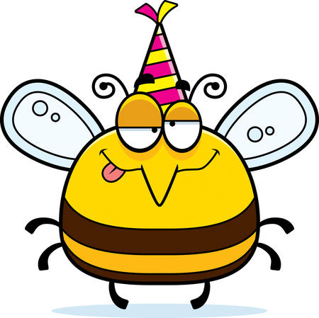 A cartoon illustration of a bee with a party hat looking drunk.