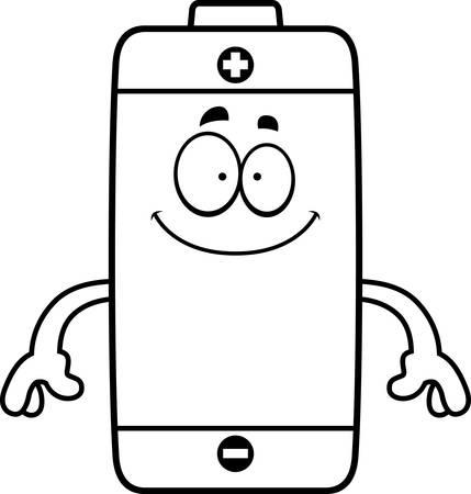 Un fumetto illustrazione di una batteria che sembra felice. Archivio Fotografico - 44771865