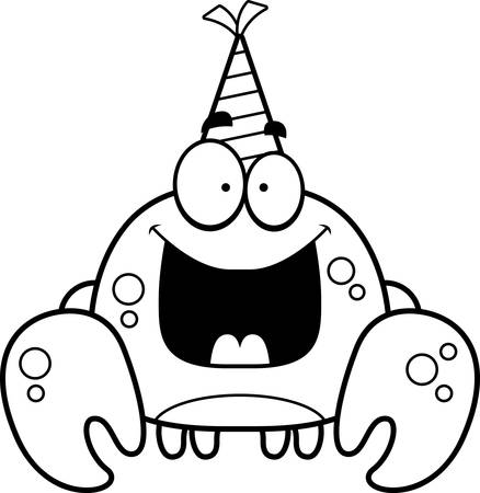 A cartoon illustration of a crab with a party hat looking happy.