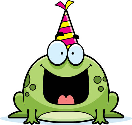 party: A cartoon illustration of a frog with a party hat looking happy. Illustration