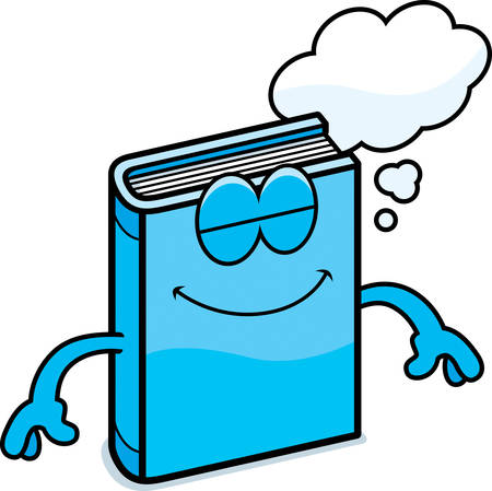 A cartoon illustration of a book dreaming.