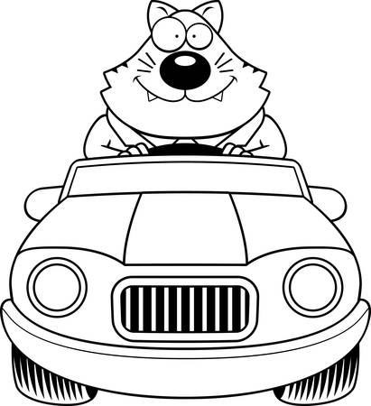 cat suit: A cartoon illustration of a fat cat driving a car and smiling. Illustration