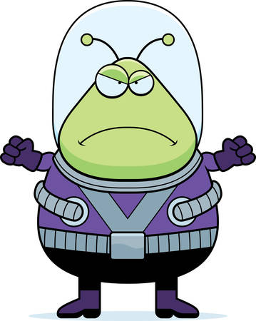 spacesuit: A cartoon illustration of an alien looking angry. Illustration