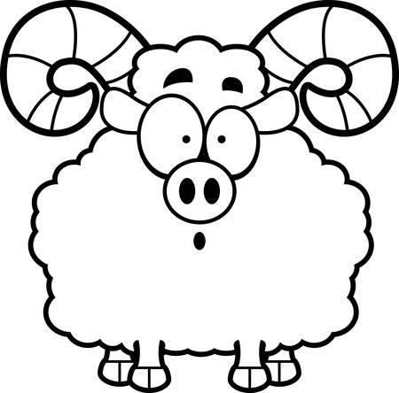 rams horns: A cartoon illustration of a ram looking surprised. Illustration