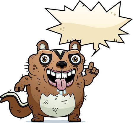 A cartoon illustration of an ugly chipmunk talking.